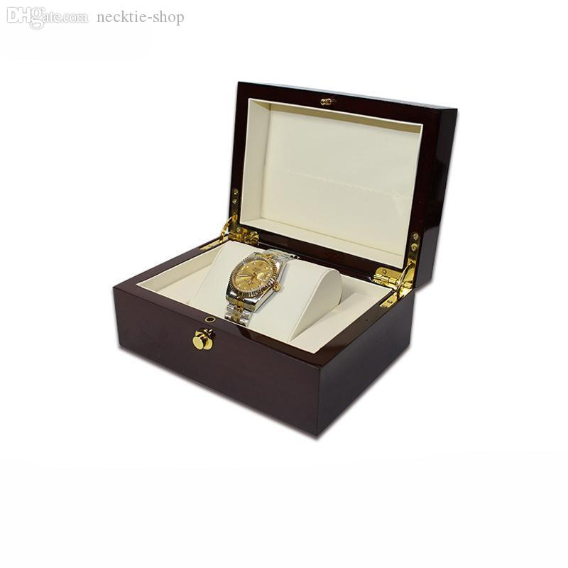 Le nuove scatole di legno di vigilanza di legno del contenitore di orologio di no nuovo con il pacchetto del cuscino guarda le scatole di regalo di immagazzinaggio degli orologi