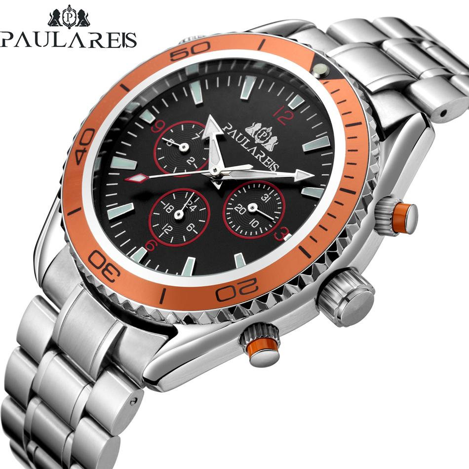 Men Automatic Self Wind Mechanical Stainless Steel Strap James Bond 007 Style Orange Blue Black Dial Bezel Classic Watch J190614