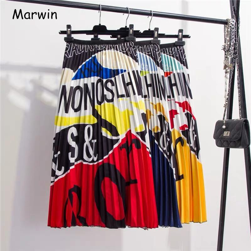 Marwin 2019 New-coming Summer Printing Cartoon Letter Pattern High Street Europen Style Women Skirts Party Holiday High Elastic J190619