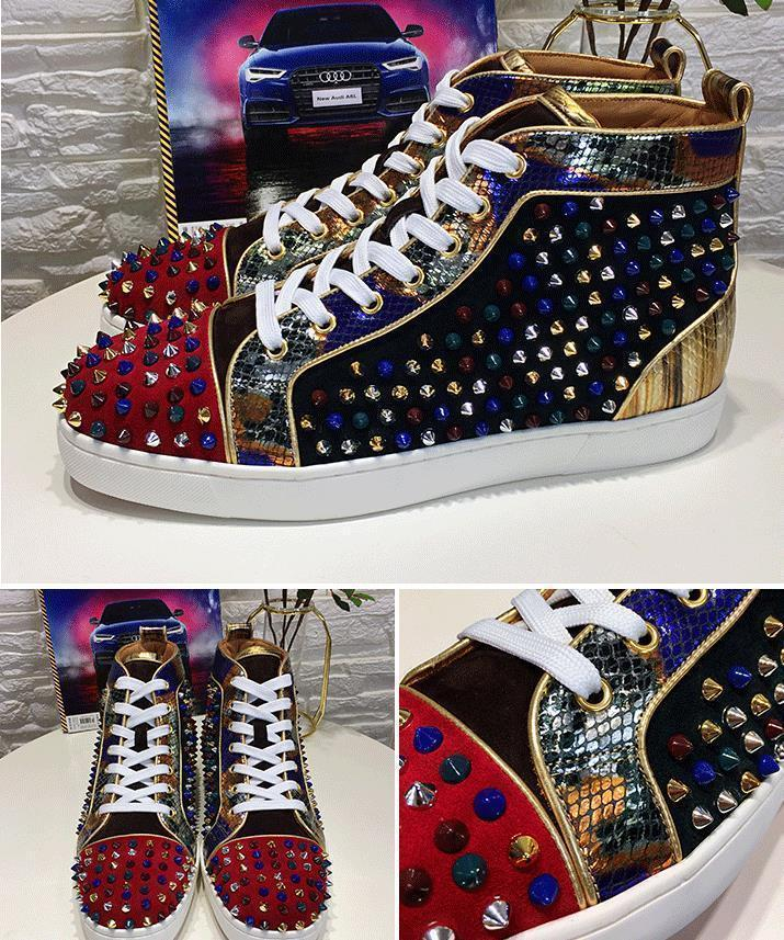 men womens crystal rhinestone red bottom sneakers,fashion genuine leather patchwork flats skateboarding shoes Designer Luxury trainers d09