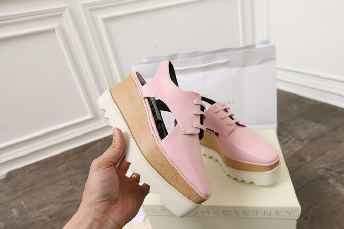 Hot Sale- wholesale new Stella Mccartney women Sandals Shoes Rose Gold Mirror Leather Wedge drop shipping Platform Shoes 36-39