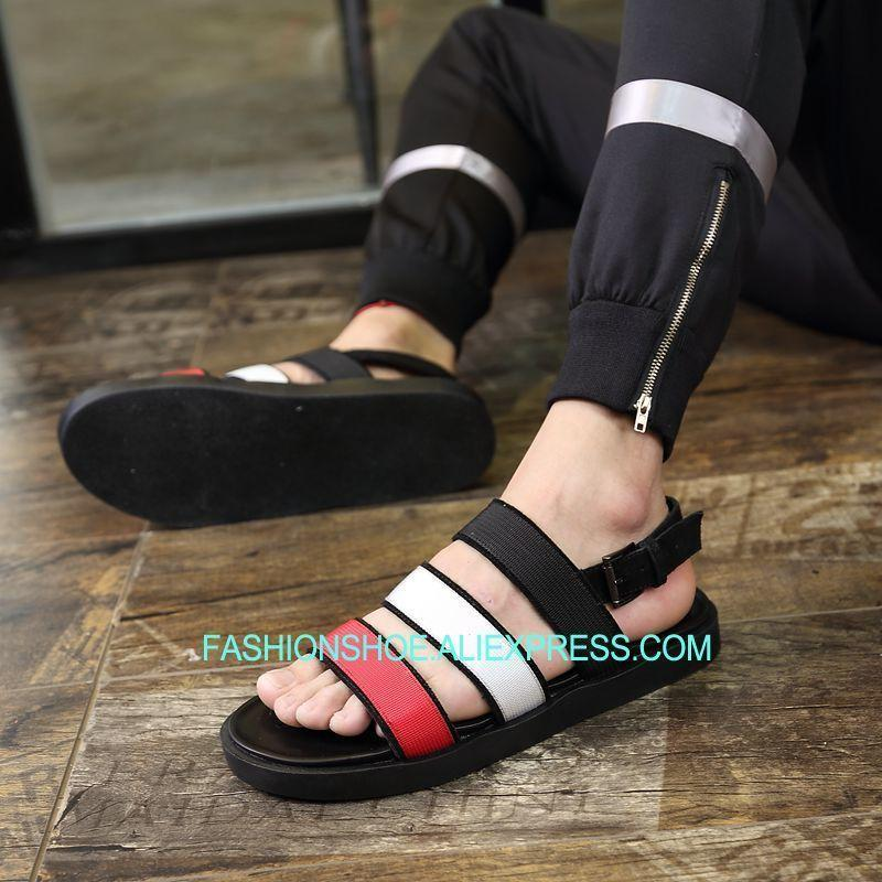 19962be6f2d 2018 New Men Beach Sandals Colorful Leather Beach Summer Gladiators Flat  Heel Leisure Shoes Womens Sandals Sandals For Men From Shuiyong