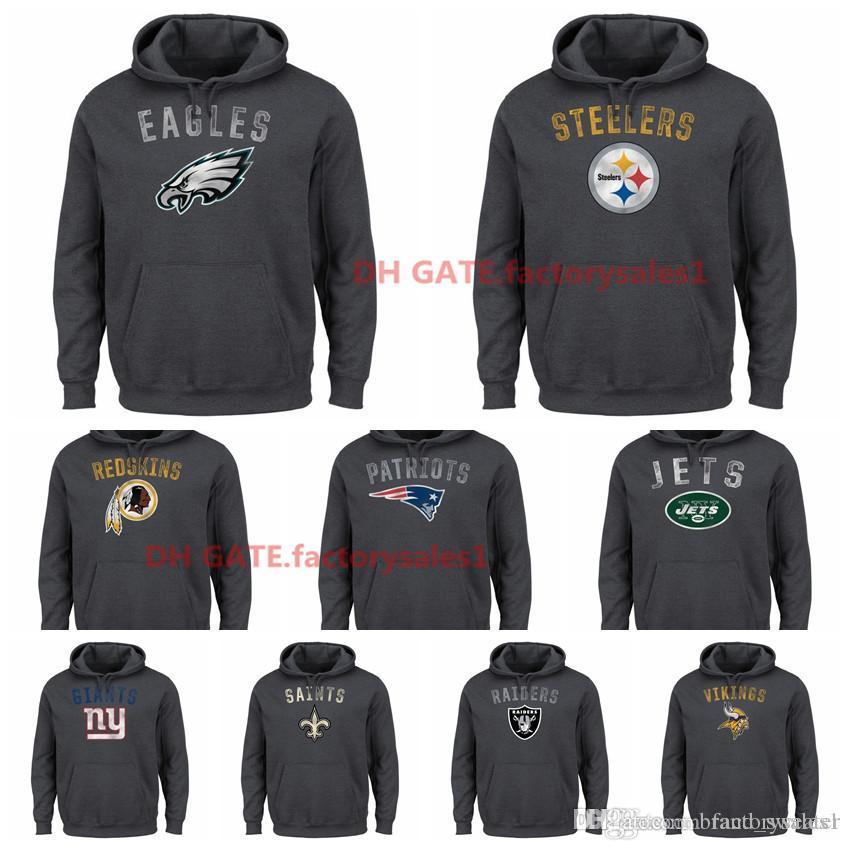official photos c65c7 30f27 Mens Minnesota Vikings Patriots Orleans Saints New York Giants New York  Jets Oakland Raiders Majestic Kick ReturnII Pullover Hoodie-Charcoal