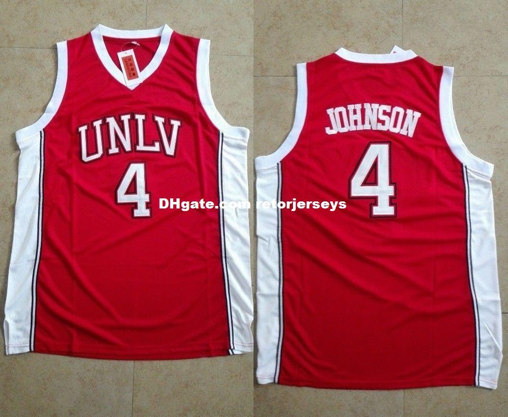 new arrival 7bbf4 0a4a1 Larry Johnson #4 UNLV Rebels Men s Basketball Stitched Jersey XS-6XL Red