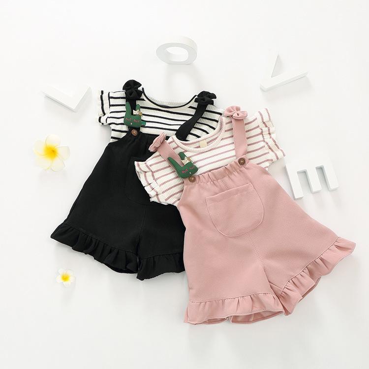354bdff999ee Moda para niños Ropa para bebés Ropa para niñas Juegos para niños pequeños  Ropa para niñas Conjunto de rayas camiseta arco pantalón Monos ...