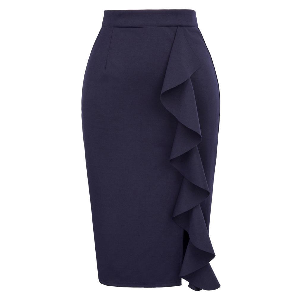 af0ebc2a8 Lápiz para mujer Nueva Sexy Ruffles Falda Desgaste Para Oficina de trabajo  de negocios Cintura alta Casual Bodycon Slim Midi Faldas de verano Q190508