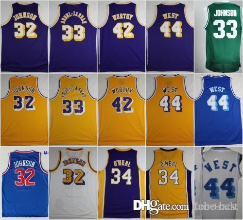 newest e2e17 cb167 Los Angeles Basketball Jerseys 33 Kareem Abdul Jabbar Lakers 32 Johnson 42  Artest Worthy 44 Jerry West 34 Shaquille ONeal O Neal