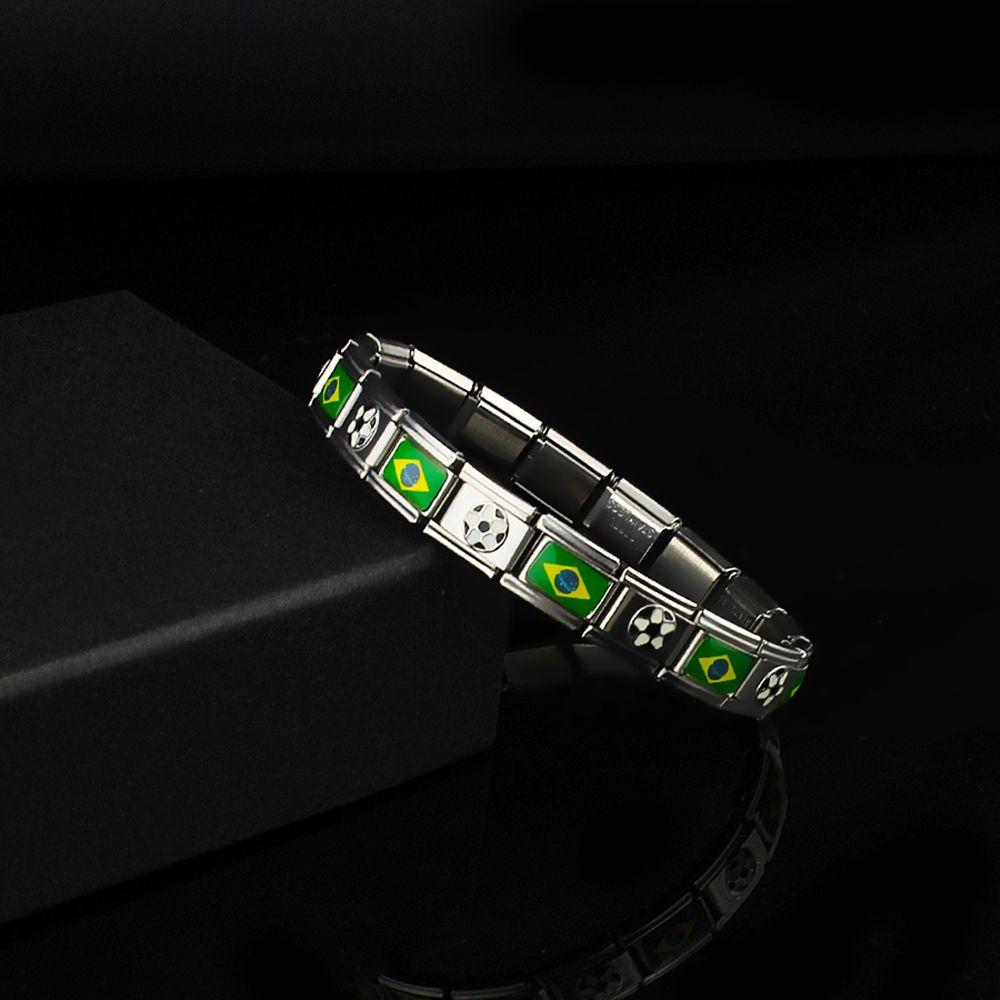 Nowintwion National Flag Football Charm Bracelets For Women Men New Fashion Jewelry Bracelet Fans Russia Germany Brazil Italy