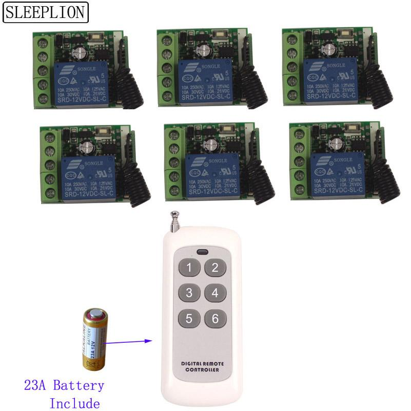 Sleeplion 12V 1CH Relay ON OFF Wireless Remote Light ON OFF Control Transmitter 6 Receiver Toggle Delay Time Multi Remote Switch