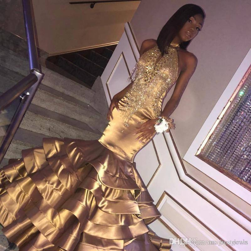 Luxury Gold Mermaid Prom Dresses Halter Neck Tassels Beaded Black Girls Party Dress Tiered Floor Length Sequined Formal Dress Evening Gowns