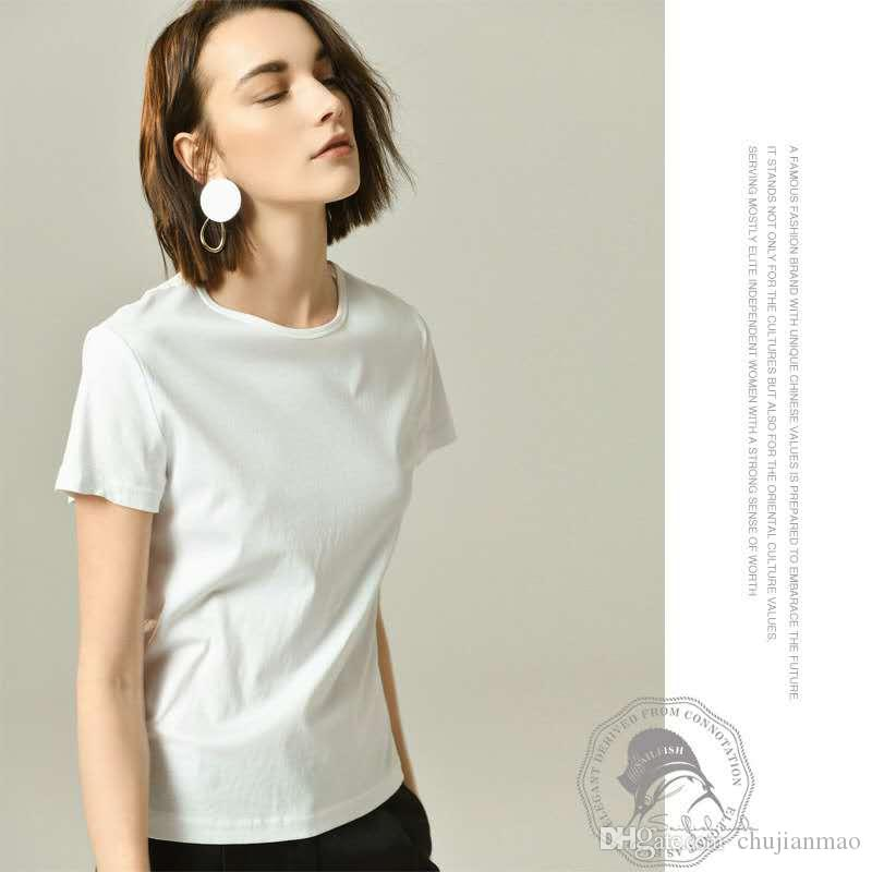 ac390bef168d9 Ultra Fine High Strength Double Silk Cotton Short Sleeved Round Neck T Shirt  2019 Europe And The United States Spring New Women S T Shirt Bo T Shirts  Online ...