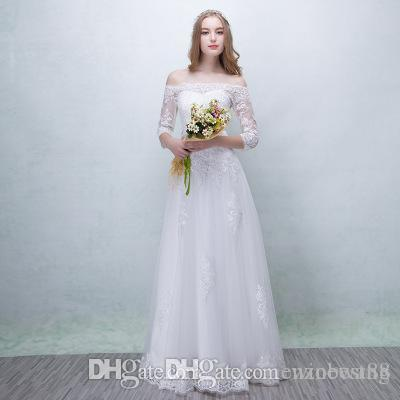 4e2f63216241 2019 2018 Muslim Wedding Dresses Cheap Sexy A Line Strapless Long Sleeve  White Lace Maxi Dresses Simple Fanshion Formal Bridal Gowns From Winbest88,  ...