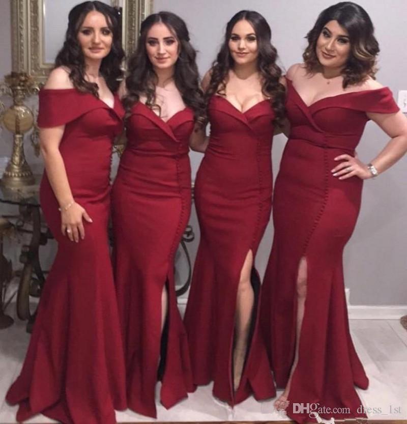 2019 New Style Plus Size Bridesmaid Dresses Burgundy Satin Portrait Off  Shoulder Neckline Tube Side Split Wedding Guest Formal Dresses Champagne  Colored ... 8e7f1ef4f782