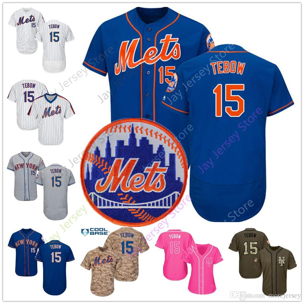 huge discount b6513 9539c Tim Tebow Mets Jersey Baseball New York 15 Home Away White Pinstripe Blue  Camo Pink Men Women Youth Kid
