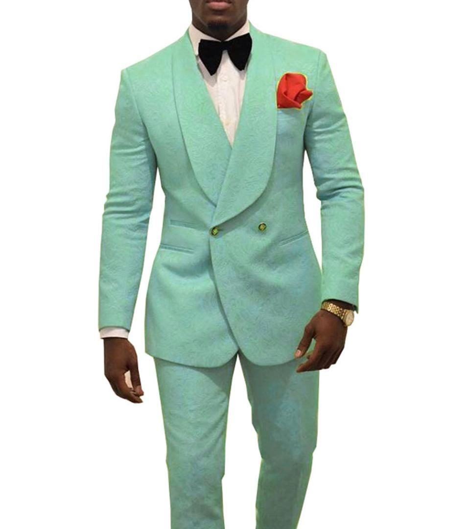 bfc4b479 mint green Double-breasted Mens Patterned Suit Groom Tuxedos for Wedding  Suit Shawl Lapel Two Piece( Blazer Pants )2019 new