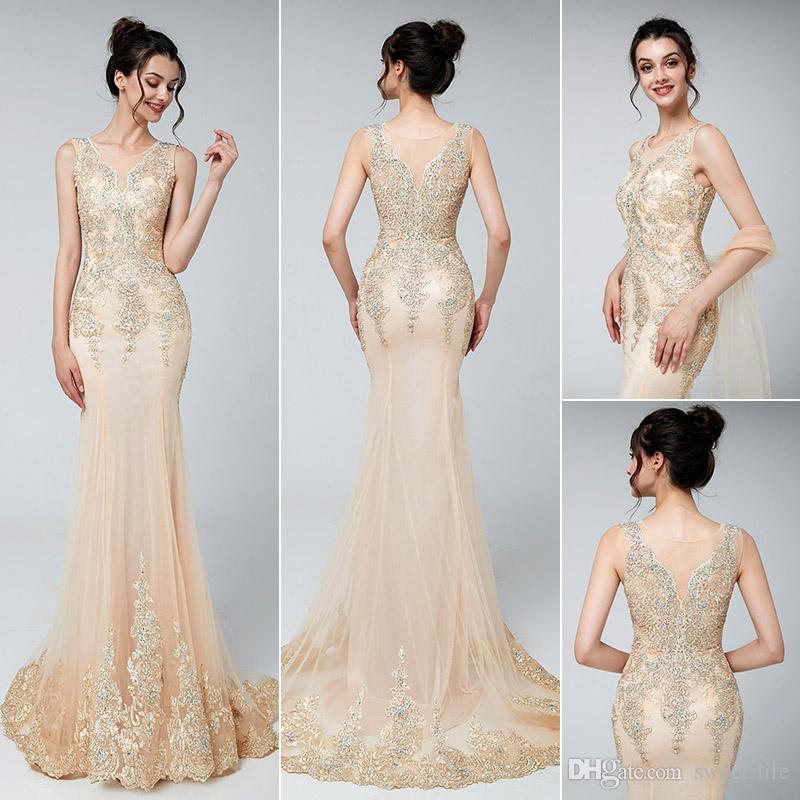 64288dc3f6 Luxury Ladies Long Champagne Beading Illusion Crastal Mermaid Sleeveless  Evening Dresses 2019 New Sexy Sweep Train Prom Dress Party Gowns