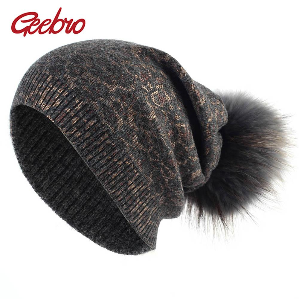 Geebro Women S Leopard Beanie Hat With Pompom Winter Warm Cashmere Slouchy  Beanie With Raccoon Fur Pompom For Femme Skullies Cheap Hats Women Hats  From ... 87342c08aa