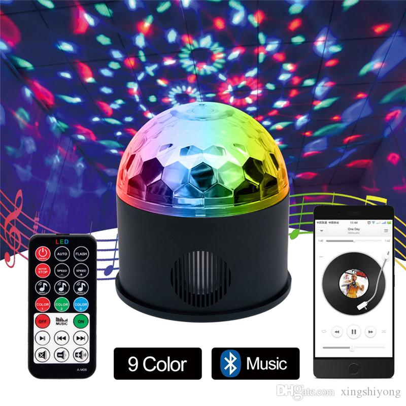 Rotary Voice Bluetooth Remote Control Music LED Crystal Magic Ball Lamp Kit 120 Degrees Colorful USB MP3 Music LED Stage Lights