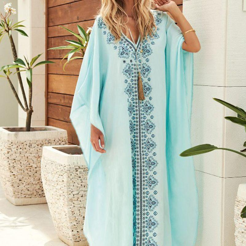 bf1e86edb5 2019 Women Long Batwing Sleeves Kaftans Swimsuit Cover Up Ethnic Vintage  Floral Printed V Neck Kimono Beach Maxi Dress Flowy Robe From Tayler, ...