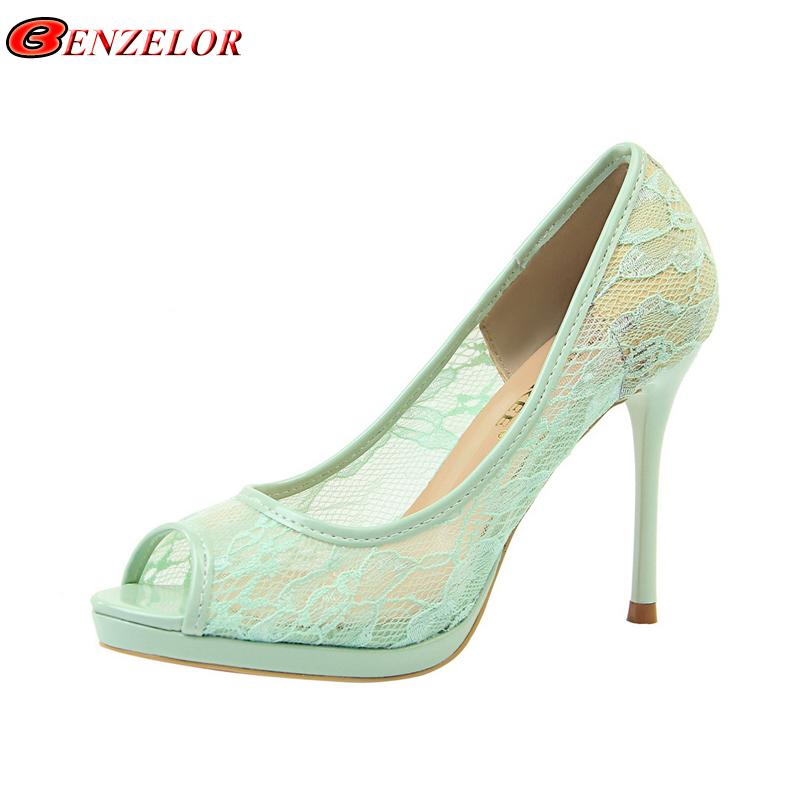 Toe Elegant Pumps Female Out Peep Women Party Sexy Summer Shoes Woman Heels Mesh High 2019 Benzelor Super Hollow Dress Ladies Office T1KlFJc