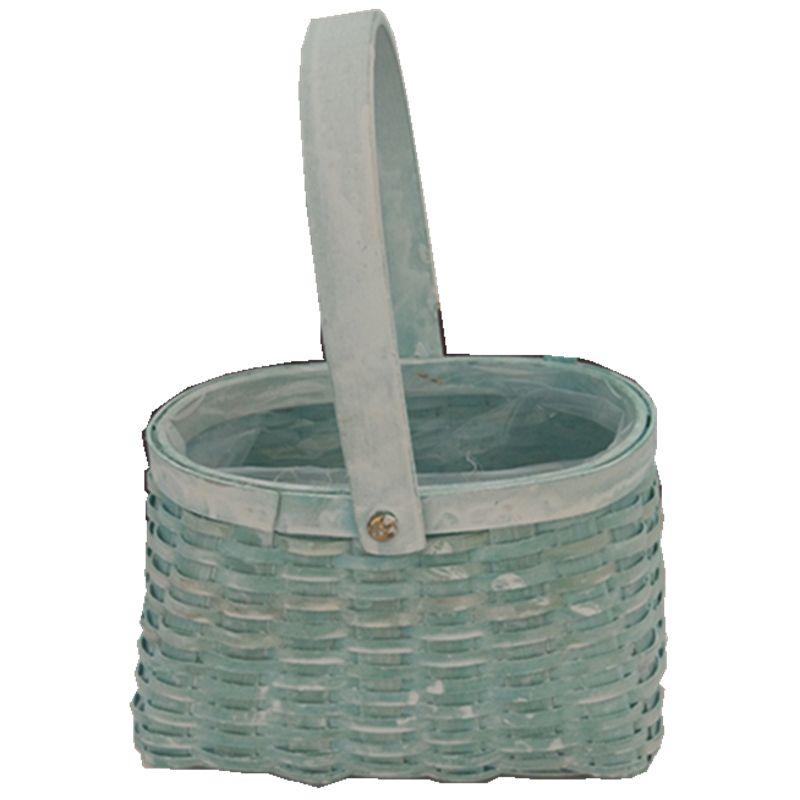 Handmade Wood Chip Flower Basket With Handle And Liner Natural Gift Basket Wood Clip Garden Basket Factory Wholesale