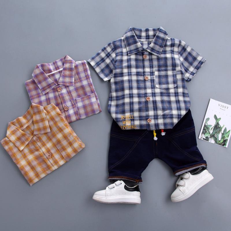 69e186073a020 Acheter 2019 Été Nouveaux Vêtements Pour Enfants Bébé Garçon Vêtements  Revers Chemise À Carreaux + Pantalon Set Enfants Costume De Sport De  26.88  Du ...