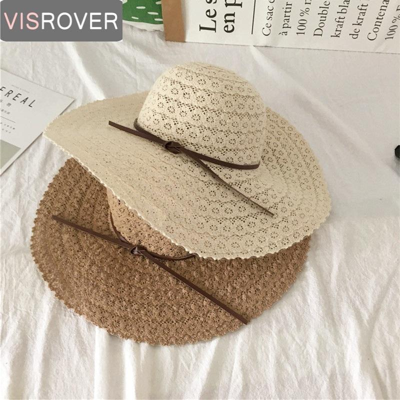 d58c437447b Visrover Korean Style Summer Sun Hat For Women Large Brim Hollow Lace Straw  Hat Beach Sun Protection Bowknot Collapsible Panama Hats Fedora Hats From  ...