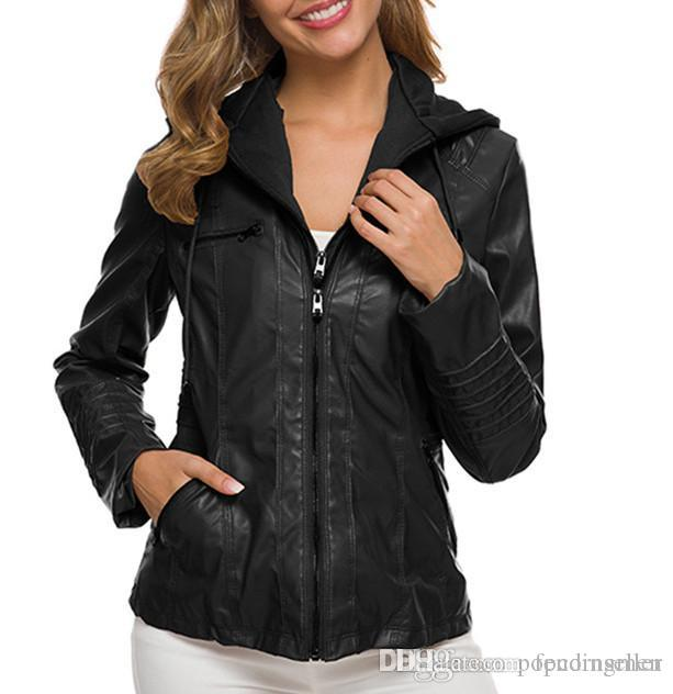 Women Fashion Designer Leather Coat Spring Zipper Outerwear Personality Long Sleeve Detachable Leather Jacket Womens Casual Apparel