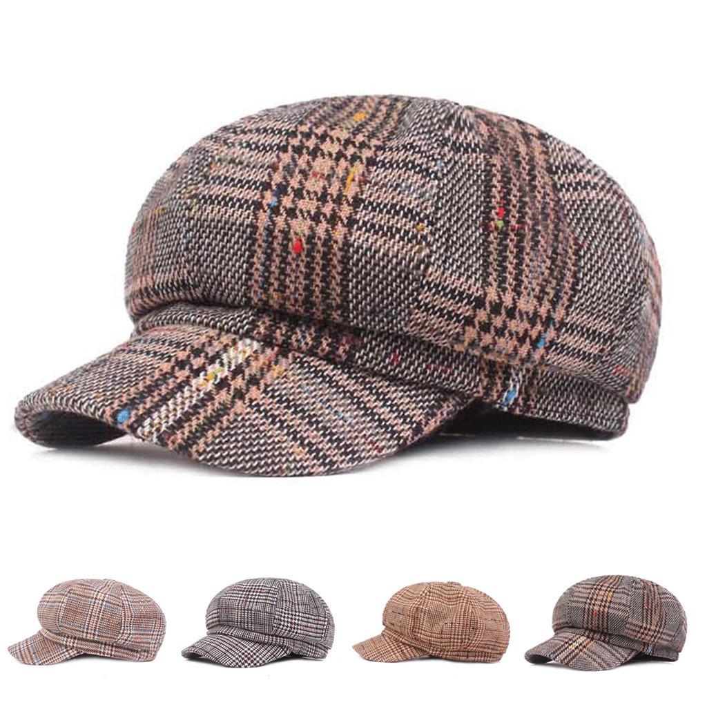 59e07eff4356 MUQGEW Sólido Para Hombre Gatsby Sombreros Moda Negro Gris Espiga Vendedor  de periódicos Baker Boy Tweed tapa plana al aire libre al por mayor ...