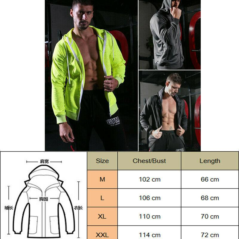 Hirigin M-XXL Mens Slim Zip Up Sports Fitness Manteau Sweat Vestes Sweat hiver chaud Gym Sports Gilet Veste Outwear