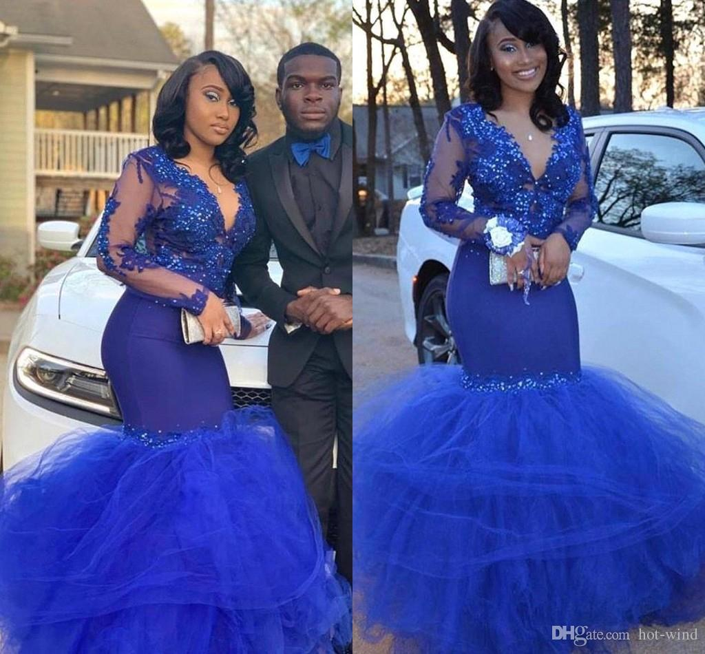 8b3ed218e5 African Arabic Royal Blue Mermaid Prom Dresses 2019 Black Girls Party Gowns  Lace Appliques Long Sleeves Tulle Evening Dresses Short Prom Dresses Under  100 ...
