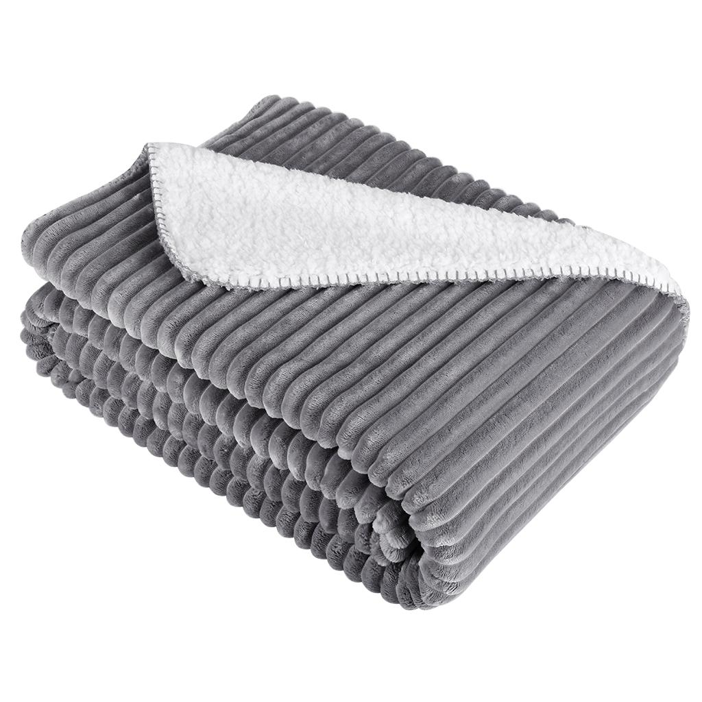 ca24e064e2 LANGRIA Stripe Ribbed Flannel Throw Reversible Cozy Soft Sherpa Blanket  Warm Bed Sofa Couch Throw Lightweight Easy Care Home Down Blankets Merino  Wool ...