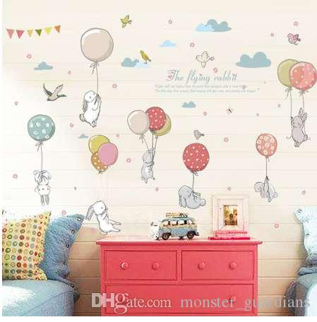 Grosshandel Cartoon Diy Super Cute Ballon Kaninchen Wandaufkleber Fur