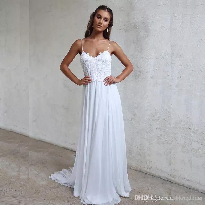 630f193594 Discount LORIE Beach Wedding Dresses Spaghetti Straps 2019 Robe De Soiree  Vintage Lace Top Elegant Women Boho Chiffon Long Bridal Dress Weeding  Dresses ...
