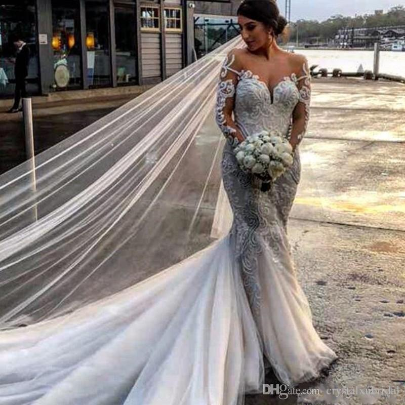 2019 Nuevos vestidos de novia de sirena africana Sheer Jewel Neck Mangas largas Encaje Apliques Tulle Court Train Plus Size Custom Formal Vestidos de novia
