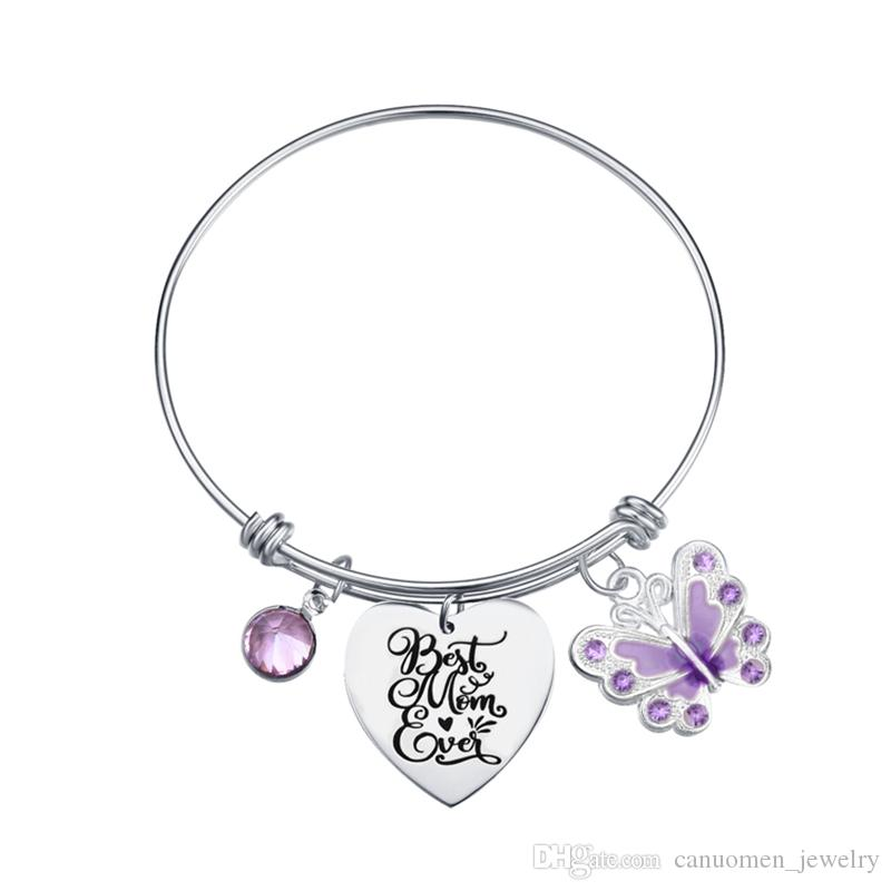 Mutter Zitat Charm Armband mit Schmetterling Diamantperlen Muttertagsgeschenk erweiterbar Edelstahl Armreif Schmuck beste Mutter überhaupt