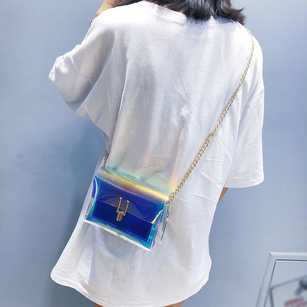Aelicy Fashion Handbags High Quality Laser Transparent Women's Shoulder Messenger Bag Cheap Luxury Women Beach Bag