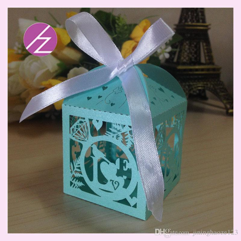 Custom ring diamonds bird Laser Cut pearl & metal Candy Chocolate Gift Boxes Bridal Birthday box with Ribbons wedding souvenirs