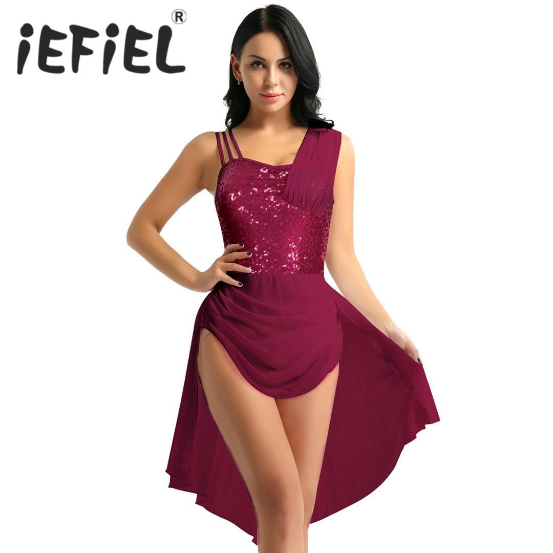 d93f73223 2019 Sequins Women Sleeveless Chiffon Ballet Dance Leotard Dress Adult Lyrical  Modern Dance Practice Costumes Leotard Tutu Dress From Manxinxin, ...