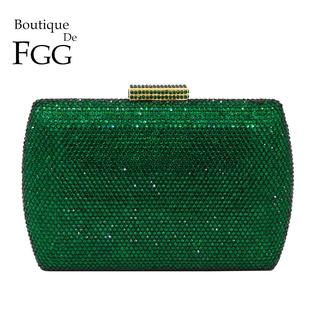 Boutique De Fgg Elegant Green Emerald Crystal Women Evening Handbags Metal Hard Case Wedding Party Dinner Diamond Clutch Bag Y190626