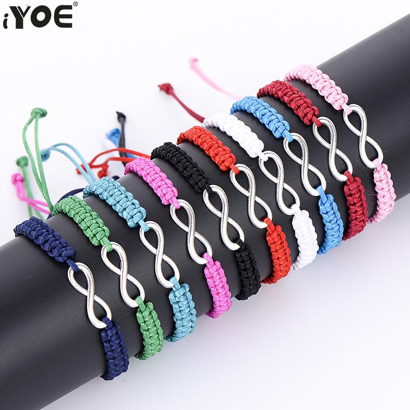 IYOE Geometric Number 8 Infinite Hand String Rope Charm Beacelet Women Couple Lucky Red Chain Bracelets Gift Simple Jewelry