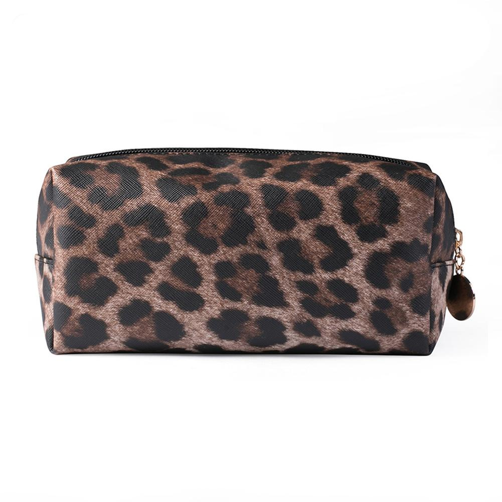 Women Makeup Zipper Multifunctional PU Leather Cosmetic Bag Portable Purse Clutch Travel Large Capacity Leopard Print Practical