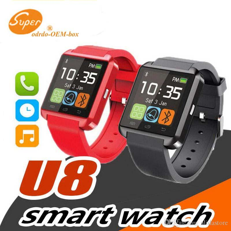 Hot sale U8 Smartwatch Bluetooth Watch Drink Clock Passometer Touch Screen Answer and Dial the Phone with retail box iphone smart watch