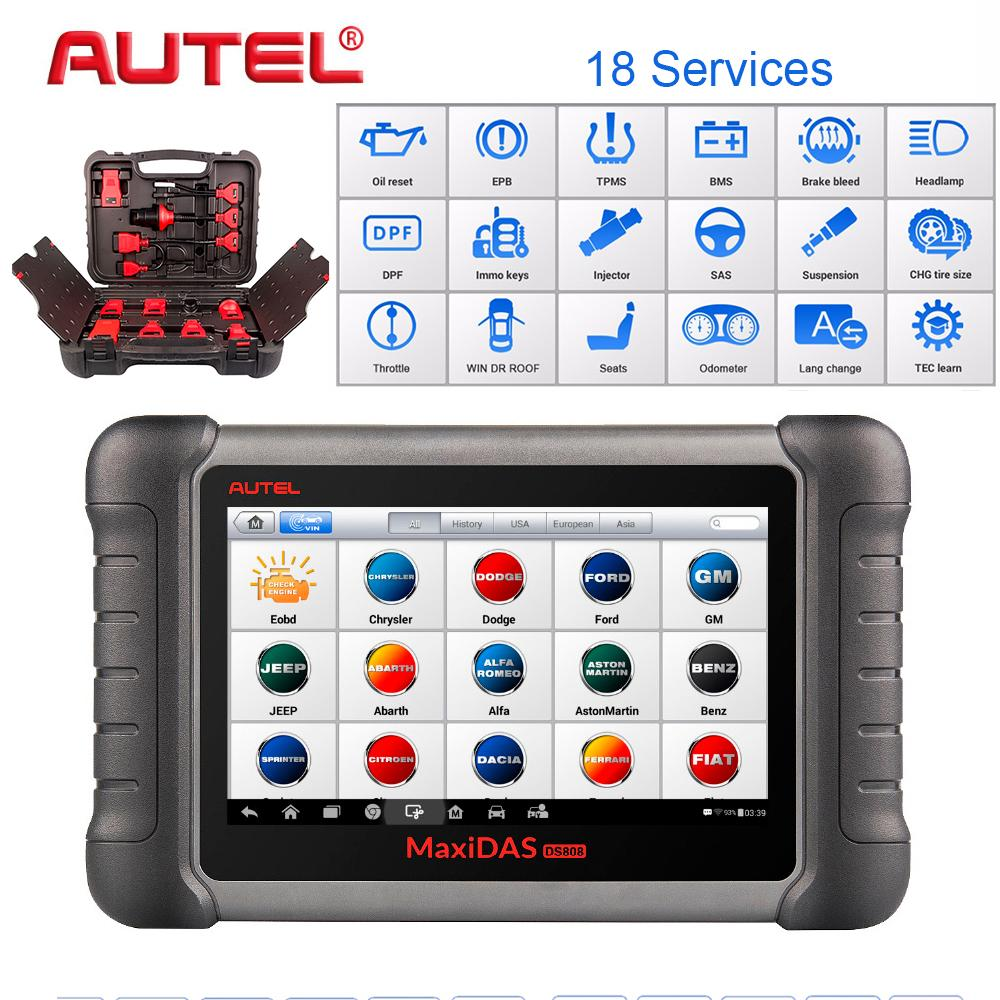 Autel OBD2 Scanner Car Diagnostic Tool Maxidas DS808K Key Programmer Diagnosis Functions of EPB//DPF/SAS/TMPS Same as MS906BT