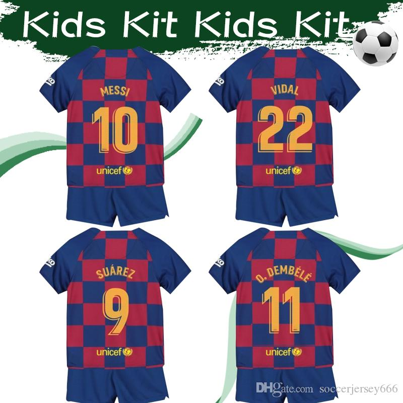 brand new fac3f 3a576 2020 Kids Kit #7 MESSI Soccer Jersey #9 SUAREZ Home Football Shirts 19/20  #3 PIQUE #8 ARTHUR Child Football Suits With Shorts