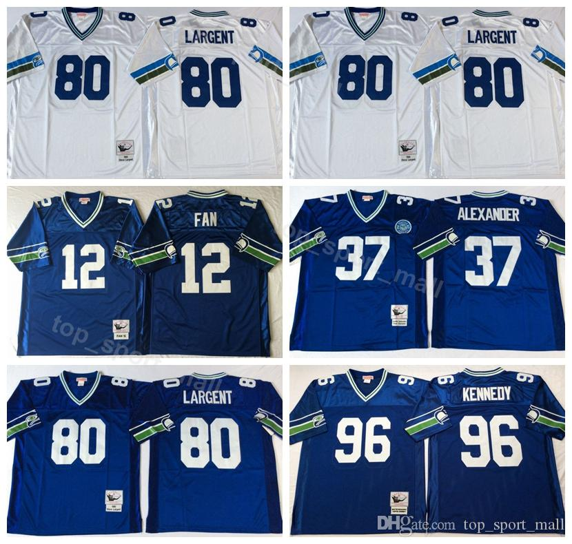 new style cfe5f 46a48 Seattle Seahawks Vintage 80 Steve Largent Jersey Men 37 Shaun Alexander 96  Cortez Kennedy 12 12th Fan Football Jerseys American Blue White