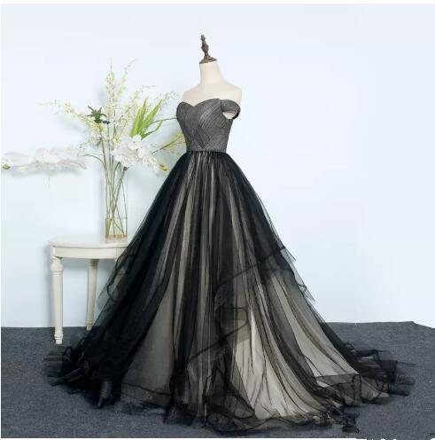 dbd42f12c21 Black Ball Gown Prom Dresses Off Shoulder Lace Up Tulle Evening Military  Ball Dress For Women And Young Girl Custom Size Formal Occasion Gorgeous  Prom ...