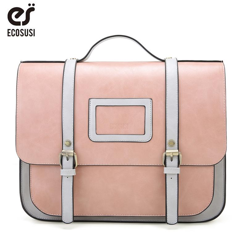 99884bbe74 ECOSUSI New Women PU Leather Shoulder Bag Retro Handbag Women 13 Inch  Laptop Messenger Bags Vintage Briefcase For Work Leather Handbag Red  Handbags From ...