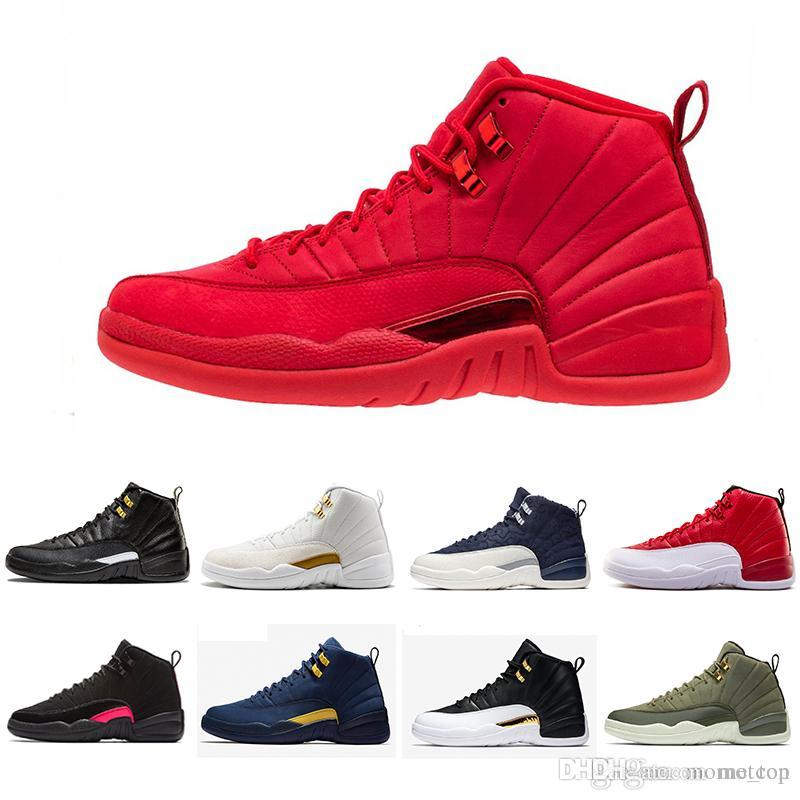 the best attitude 1fd02 fecea 12 Gym Red 12s College Navy men basketball shoes Michigan WINGS bulls UNC  Flu Game the master fire red taxi Sports trainer sneakers