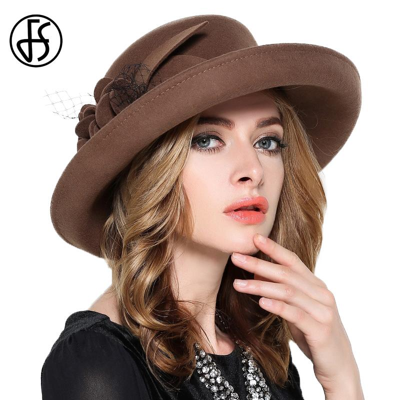 279aa62e031 FS Vintage Large Wide Brim 100% Wool Felt Fedora Hat Winter Women Flowers  Black Khaki Wine Red Mesh Church Bowler Derby Hats D19011102 Panama Hat  Trilby ...